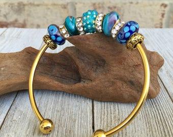 Aqua and Purple beaded bracelet, european fit, gift for her, stocking stuffer, international shipping, murano glass, adjustable