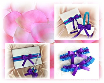 Wedding Purple and Turquoise ring pillow, flower girl basket, bridal garter set, guest book and pen set.