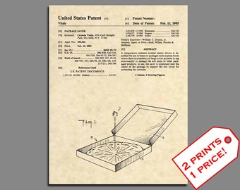 Patent Prints Pizza Box Art Vintage Wall