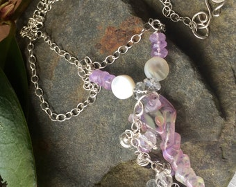 Fairytale,   Delicate Unicorn Horn,dripping with gemstones Sterling silver chain and handcrafted hook and clasp