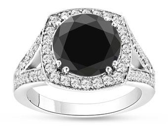 Fancy Black & White Diamonds Engagement Ring 4.18 Carat Certified 14k White Gold HandMade Unique