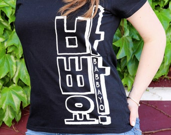 T-shirt woman serigraphied 100% cotton : Babbayo ! / 바빠요 ! /Typography/ Hangul/ 한글/ Korea/ 한국