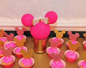 Minnie Or Mickey Mouse Cup Cake Toppers