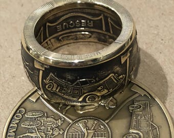 Antiqued Bronze fire ans rescue Maltese cross challenge coun ring size 8-16