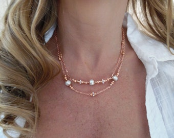 Rose Gold-Plated Double-Strand Necklace with Pearls and Swarovski Rondelles