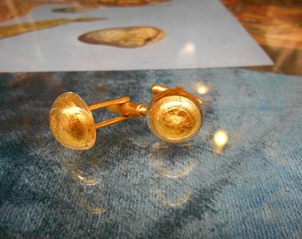 Vintage Glass Gold Dust Filled Cuff Links