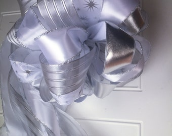 Christmas Tree Bow Topper Elegant Silver and White Large Bow Topper Tree Bow Christmas Bow READY TO SHIP Large Bow Topper