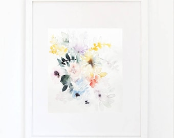 BOUQUET 2, original watercolor painting, 19/23 cm
