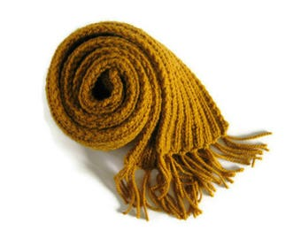 Yellow Wool Scarf with Fringes - Long Chunky Knit Scarf, Winter, Multi Wrap Scarf, Fashion Accessories, Mens, Womens Scarves, Hand Knit Ribs