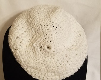 White Crochet Slouchy Hat