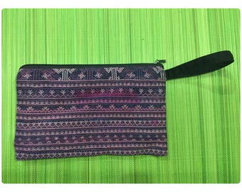 Vintage Handmade Tribal Dao Hmong embroidered batik cotton wallet