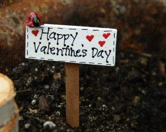 Valentines Day Fairy Garden Sign - Fairy Garden Sign -  Accessories - Miniature for terrarium - Accessory for Fairy Garden