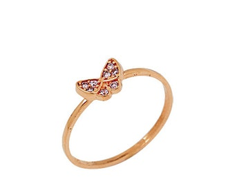 Butterfly14k Solid Gold Ring Yellow Gold Rose Gold