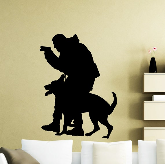 Policeman K9 Dog Wall Decal Police Officer K-9 Vinyl Sticker