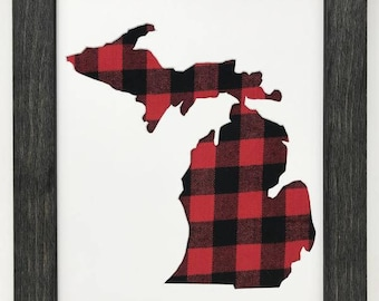 """16x20 1.75"""" Rustic Black Frame with Michigan and Buffalo Plaid"""