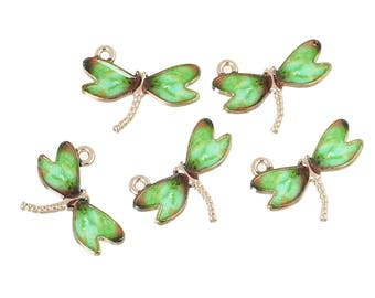 5 Gold Tone and Green Enamel Dragonfly Charm/Pendants 22 x 17mm (B189d)