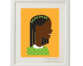 Girl in green with braids - Customized Children's art & decor