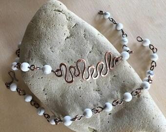 Beaded bracelet - White Turquoise bracelet - Double bracelet - Copper - Link bracelet - Women's Bracelet