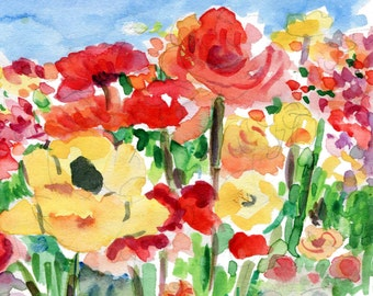 Buttercup Field art print of original watercolor painting, floral print, colorful, gift for her, home and living, flowers field,floral print