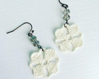 Nora Crochet Earrings in White, Lace Doily Earrings, Bridal Jewelry, Wedding Earrings, Dangle Earrings, White Flower Earrings, Gift Under 50