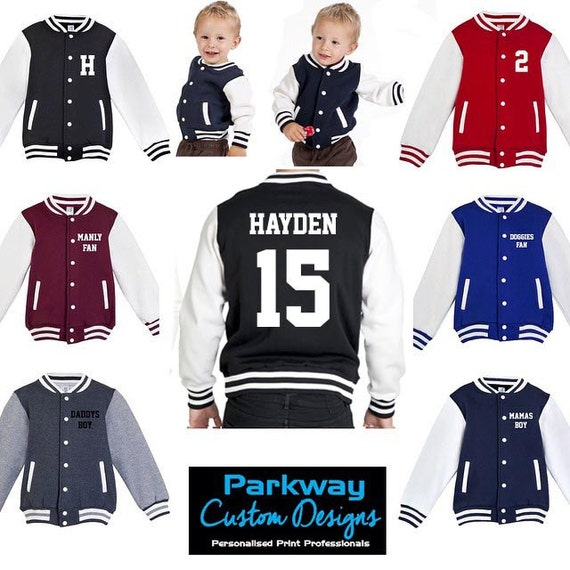 Mens Womens VARSITY JACKET Letterman Initials Sports Ski Warm Winter Jacket Various Colours Teen Father& Son Mother Daughter Custom Printed Q3MuZ