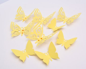3D Butterfly Wall Decor - Pastel Yellow Paper Butterflies - Wall Butterfly - 3D Cut Paper Butterflies