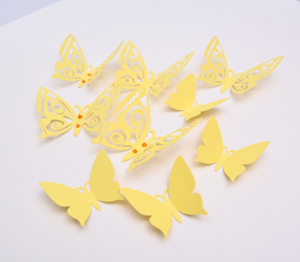 3D Butterfly Wall Decor Pastel Yellow Paper Butterflies