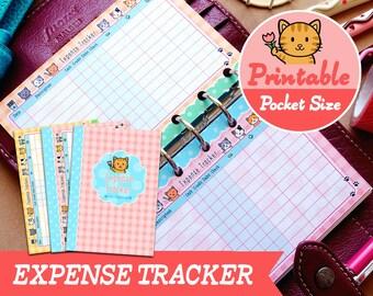 PRINTABLE Pocket Size Cute Kawaii Kitty Expense Tracker Finance Filofax Pocket, Louis Vuitton PM, Kikki.K Small Planner Instant Download