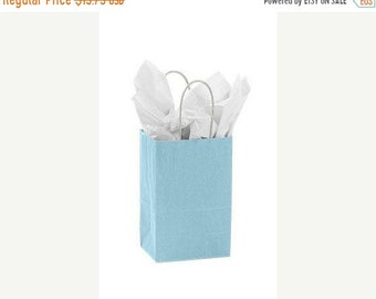 Mothers Day Sale 25 pack Light Blue Recycled 5.25 x 3.5 x 8.5 inch Paper Handle Bags