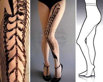 L/XL Fish Bone tattoo tights / stockings / full length / pantyhose / nylons White