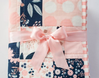 Navy and Pink Nursery Quilt, Handmade Baby Quilts, Floral Baby Quilt, Pink Polka dots, Toddler Bedding, Blush Pink Minky Quilt for Sale