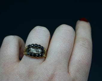 Georgian Garnet and Hair Mourning 8K Gold Ring / Victorian Mourning Jewelry