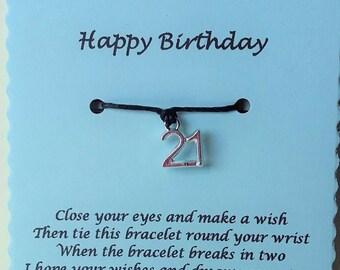 21st Birthday Gift, Birthday Friendship Bracelet, 21st Charm Bracelet, 21 today, Birthday gift, 21st Birthday Bracelet, Gift 21st birthday