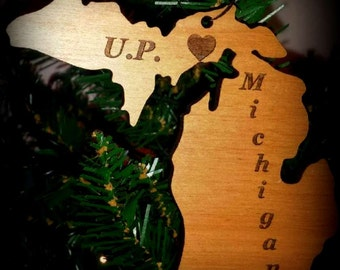 Christmas Ornament Michigan, State of Michigan. UP, Christmas / Holiday Ornament with Hometown Heart, Wood, Engraved, Custom