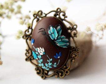 Blue butterfly brooch, turquoise brooch, flower brooch, bridesmaid gift vintage brooch, teal blue brooch