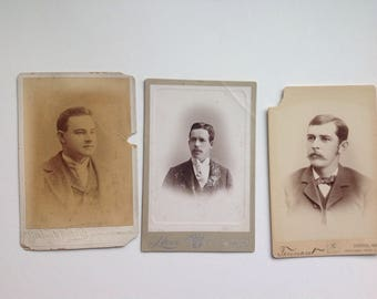 Cabinet card portraits damaged discount (3) 1870s