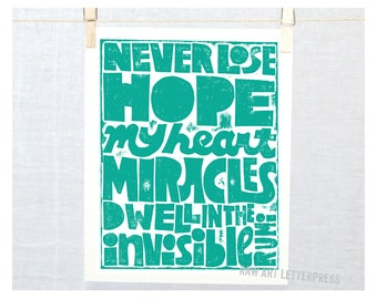 Rumi - Sympathy Gift, Never lose Hope, Miracles, Wall Art, Quote Art, Get Well Gift, Divorce Gift, Recovery, 12 step