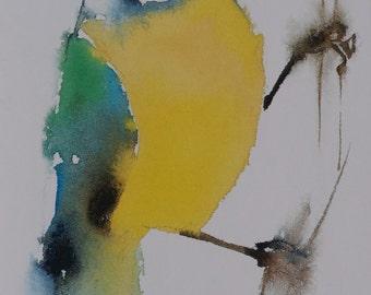 Postcard. Reproduction watercolor chickadee bird