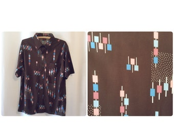 Moving Up Brown 70s Poly Print Shirt
