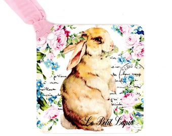 Rabbit Gift Tags, Roses and Forget Me Nots, Tan Bunny, Easter Tags, French Lapin, Pink Tags