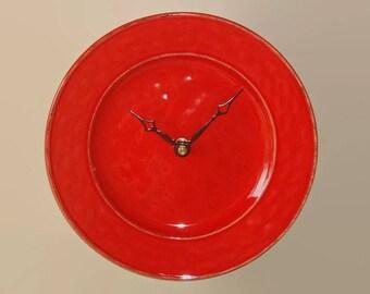 SILENT Modern Clock 9 Inches, Stoneware Plate Clock, Minimalist Wall Clock, Unique Wall Decor, Kitchen Clock, Orange-Red Kitchen Decor  2487