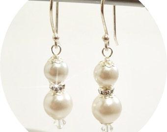 Wedding Earrings, Pearl Earrings, Pearl and Rhinestone, Bridal Earrings, Prom, Mother of the Bride,Formal, Dressy, Bridesmaid Earrings