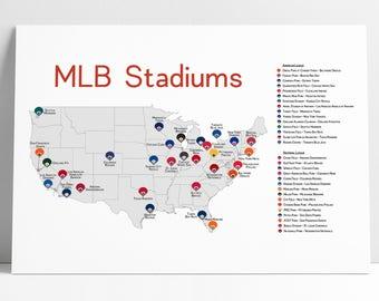 stadium map stadium checklist baseball stadiums map mlb stadiums baseball poster gift for him man cave stadium list baseball map