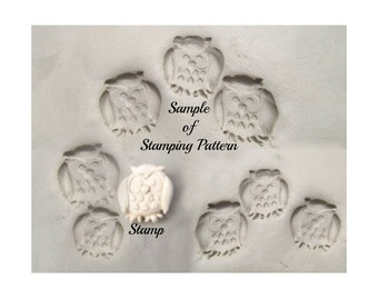 Owl Stamp -pottery stamps, ceramic stamps, Clay stamps, polymer clay stamps, metal clay tools, pottery tools,  #  284