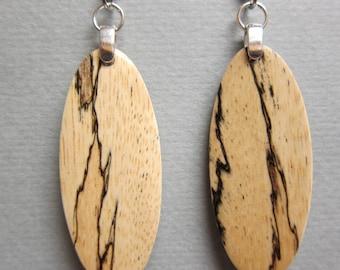 Spalted Tamarind small long narrow dangle Exotic Wood Earrings, Handmade earthy
