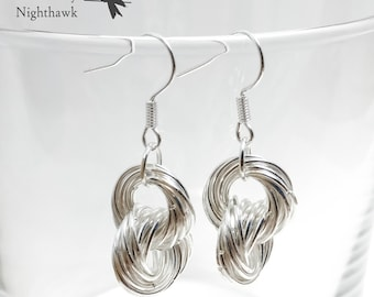 Chunky Silver Chainmaille Earrings | Double Mobius Ring | Interlocked Mobius Donuts