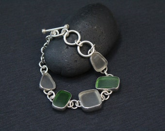Sterling Silver Green and White Beach Glass Link Bracelet with Toggle Clasp