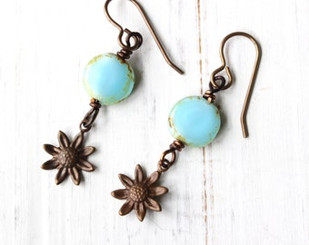 Aqua flower earrings, sunflower earrings, Czech glass earrings, blue flower earrings, boho style earrings