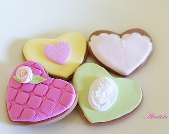 Handmade Fake Cookies,Set of 4 Faux Cookies,Valentine's Gift,Wedding Decor,Photography Props,