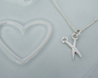 Tiny Silver Scissors Necklace - Sterling Silver